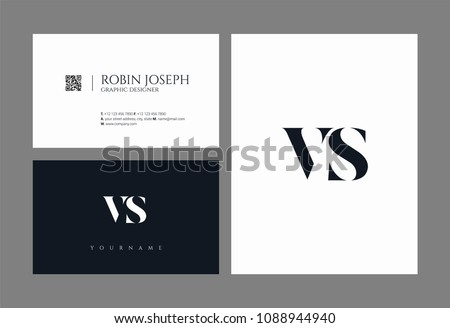 Letters V & S joint logo icon with business card vector template. Stock fotó ©