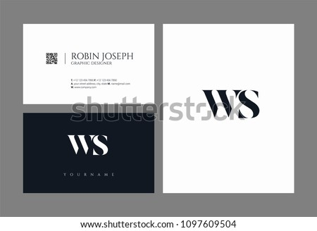 Letters W S, W & S joint logo icon with business card vector template.  Zdjęcia stock ©