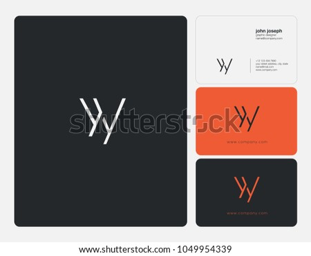 Letters Y Y, Y & Y joint logo icon with business card vector template.