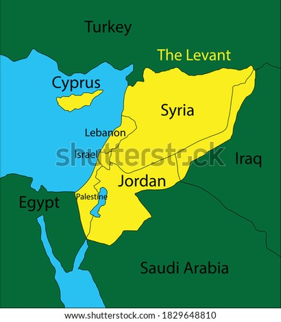 Levant Map, large area in the Eastern Mediterranean region of Western Asia Stock photo ©