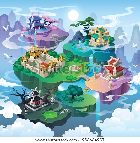 level maps for game. traditional Asian houses on islands,, Fantasy land adventure map interface with lake and waterfalls. Cartoon Style Background vector illustration