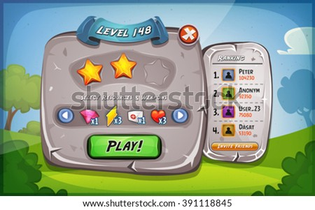 Level Panel With Options For Ui Game/ Illustration of a funny cartoon design ui game stone level and control panel, with status, ranking and stars, and spring blue sky background, for app on tablet pc