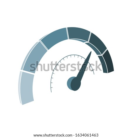 Level scale with arrow . The measuring device icon. Sign tachometer, speedometer, indicators. Vector illustration in isometric style. Infographic gauge element