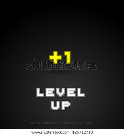 Level Up -computer screen for computer/mobile game, part of big set