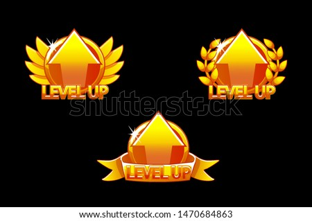 Level UP icon, Game golden icons. Graphical user interface GUI to build 2D games. Casual Game. Can be used in mobile or web game.