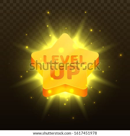 Level up icon. Golden star with text and glowing effects. Element for mobile game or web apps. Modern graphical 2D element for UI and GUI. Vector illustration.