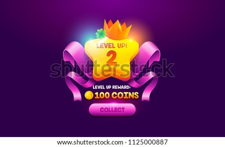 Level up object vector element. Level up cartoon achievement screen game icon. Vector interface GUI, mobile or web game