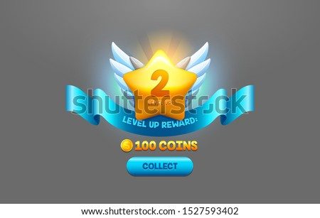 Level up reward cartoon vector illustration. Online game app UI isolated design element. Successful level complete realistic badge. Prize coins collect button. Winner star with wings, ribbon award