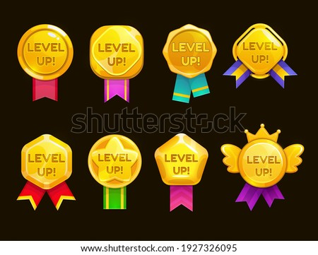 Level up ui game icons, casino bonus vector stars, golden labels with award ribbons. Medal for achievement, development reward, isolated cartoon trophy labels experience level up growth badges set