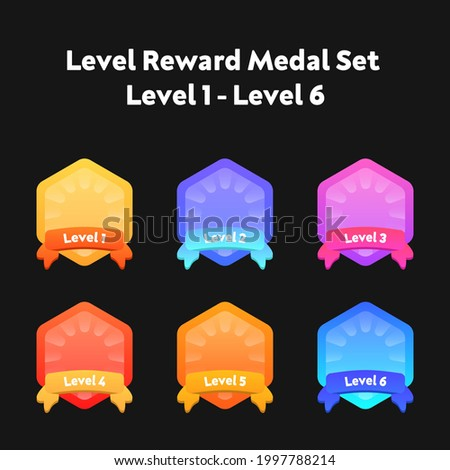 Level up ui game icons, casino bonus vector stars, golden labels with award ribbons. Medal for achievement, isolated cartoon trophy labels experience level up growth badges set. Level Medal Set Design Stock fotó ©