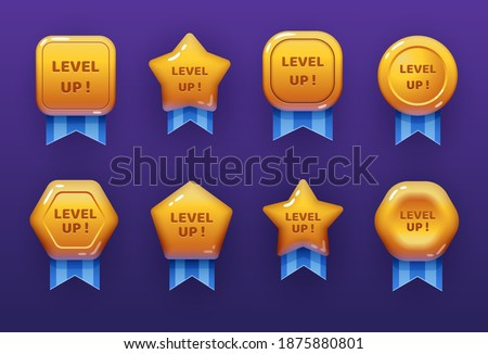 Level up ui game icons, casino bonus vector stars, golden labels with blue award ribbon. Medal for achievement, development reward, isolated cartoon trophy labels experience level up growth badges set
