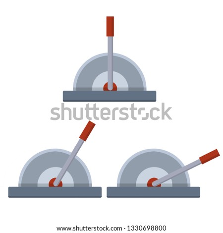 Lever to increase the speed of the mechanism. The control of the car. Automatic technology. Set of red levers in several positions-basic, small, medium, maximum. Cartoon flat illustration Stock photo ©