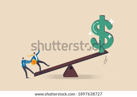 Leverage investing, investor borrow money or stock to increase potential return concept, businessmen investor borrow money coin from other to use to leverage the seesaw to gain big dollar money sign.