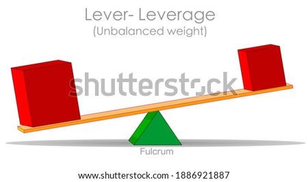 Leverage. Lopsided of two objects of different weight. Unbalance scale, lever pry. Red big, heavy cube, light box. Unstable age ratio. Same distance to fulcrum. Physics, economic, politic. Vector Сток-фото ©