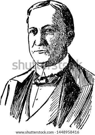 Levi Morton, vintage engraved illustration drawing