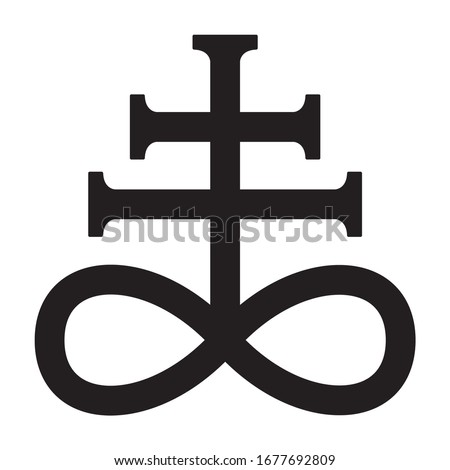 Leviathan cross, the alchemical symbol of sulfur or satanism flat vector icon for games and websites ストックフォト ©