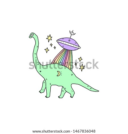LGBT alien and dinosaur. Line drawing doodle comics catoon style illustration. Editable vector art