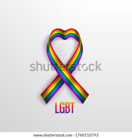 LGBT card with photo realistic rainbow ribbon, symbol of LGBT community on a light background. Template vector design for card, banner, poster.  Recognising LGBT, equality and diversity of people.