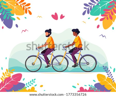 LGBT concept. Male gay couple riding on a tandem bicycle. Vector illustration Foto stock ©
