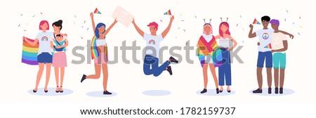 LGBT couple people vector illustration. Cartoon flat happy homosexual family with child, gay and lesbian lover characters in romantic love relationship celebrating LGBT pride month isolated on white Сток-фото ©