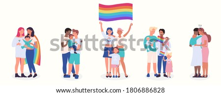 LGBT family flat vector illustration set. Cartoon happy LGBT family people collection of gay lesbian bisexual couple parent character and adopted children, rainbow adoption parenting isolated on white Foto stock ©