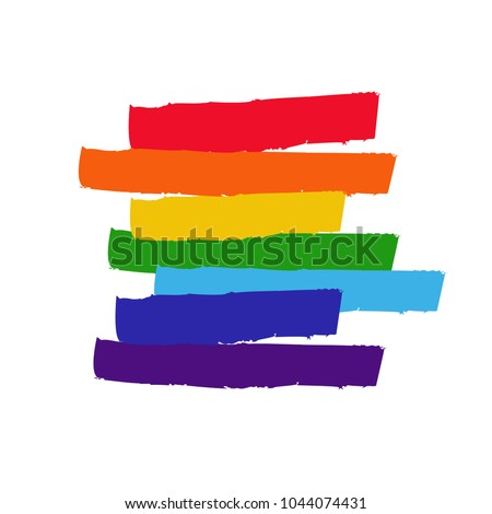 LGBT flag against homosexual discrimination. Vector hand drawn
