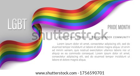 LGBT horizontal poster with photo realistic rainbow ribbon symbol of LGBT community on a light background. Template vector design for card, banner, poster.  Recognising LGBT, equality and diversity.