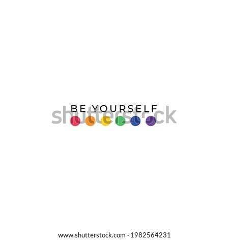 LGBT LGBTQ+ Pride Hearts and Slogans Social Media Post Template. Love is Love, Be Proud, Be Yourself. Hearts in LGBT Flag Colours. Vector Design Element for LGBT Pride Social Post, Square Banner, Logo