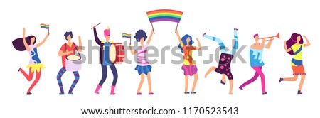 Lgbt parade. People holding rainbow flag. Gay love pride, sexual discrimination protest vector concept. Illustration of gay people, homosexual community