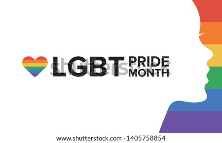 LGBT Pride Month in June. Lesbian Gay Bisexual Transgender. Celebrated annual. LGBT flag. Rainbow love concept. Human rights and tolerance. Poster, card, banner and background. Vector illustration