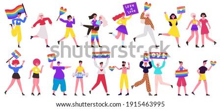 Lgbt pride parade. Love parade, lesbian, gay, bisexual and transgender community movement. Pride parade vector illustration set. Rainbow flag pride, rights lgbt homosexuality