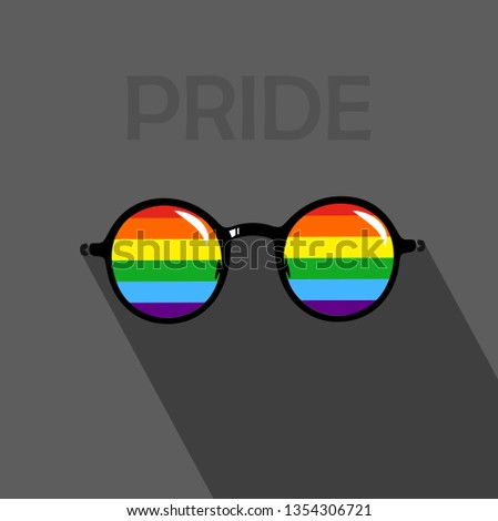 LGBT sign with dark background. Eyeglasses icon in LGBT pride flag colors