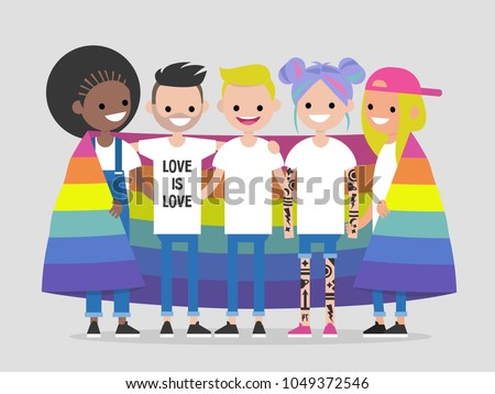 LGBTQ community. Happy hugging young people covered with an LGBT rainbow flag. Flat editable vector illustration, clip art