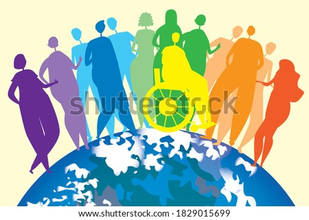 Lgbtq people and planet earth. Flat vector stock illustration. Concept of Lgbtq pride, inclusiveness of homosexuality, gay, lesbian bisexual. Lgbtq people in a wheelchair. International LGBT concept Foto d'archivio ©
