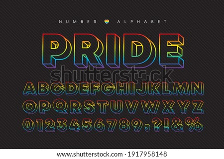 LGBTQ - Pride rainbow colors alphabet letter and number. Modern 3 dimensional font or typography set. Vector 3D colorful wireframe alphabet and number. Stylish, vivid, bold typeface.  Stockfoto ©