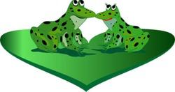 lia couple of frog on green heart
