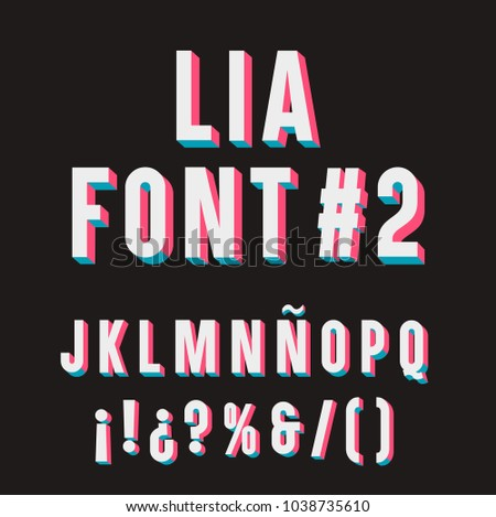 Lia Font #2. 3D Typography set. J, K, L, M, N, Ñ, O, P, Q, &,  Exclamation marks, Question marks, Percent symbol, Parenthesis and Division sign. Foto stock ©