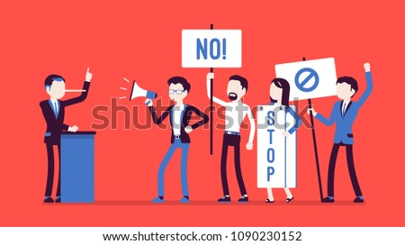 Liar and people protesting. Man misleads, cheats in audience, tells lies in public speech, nose grows longer, crowd holding signs, banners stop dishonesty. Vector illustration, faceless characters