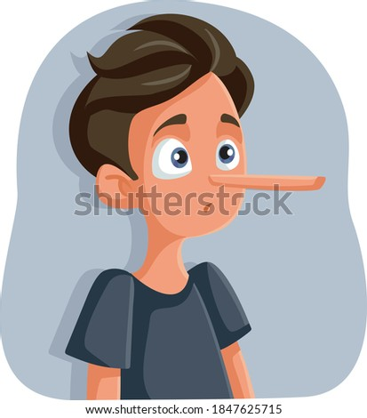 Liar Teenage Boy with Long Nose Vector Cartoon. Dishonest teen getting caught hiding the truth   Photo stock ©