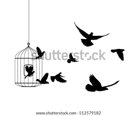 Liberation symbol. Birds flying out of cage