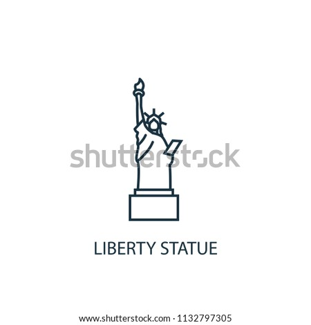 Liberty statue concept line icon. Simple element illustration. Liberty statue concept outline symbol design from USA set. Can be used for web and mobile UI/UX