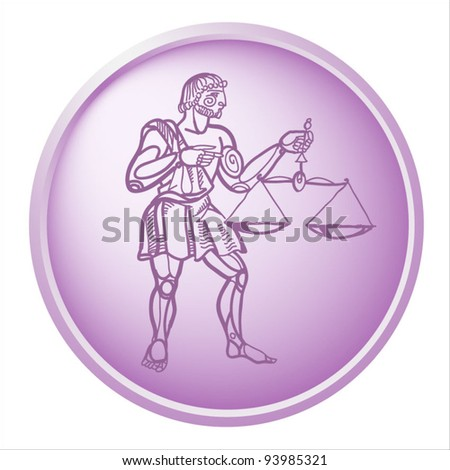 libra, button with sign of the zodiac