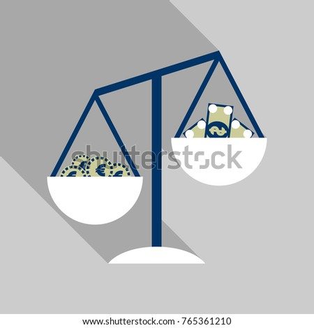 libra with money and bill icon with shadow in flat style