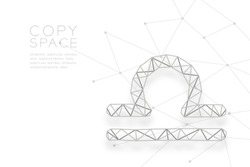 Libra Zodiac sign wireframe Polygon silver frame structure, Fortune teller concept design illustration isolated on white background with copy space, vector eps 10