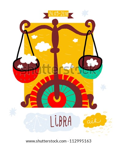 Libra. zodiac vector drawing