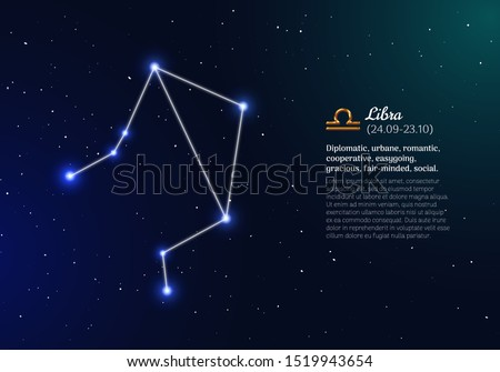 Libra zodiacal constellation with bright stars. Libra star sign and dates of birth on deep space background. Astrology horoscope with unique positive personality traits vector illustration.
