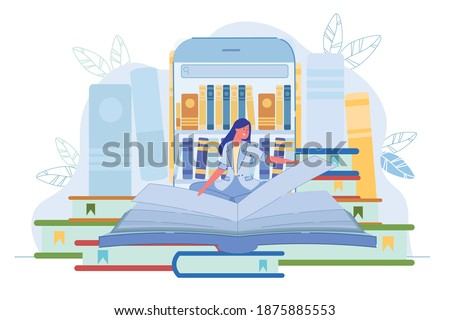 Library Application for Reading Book Online via Phone. Young Woman Reader Turn Huge Textbook Page Sitting over Big Smartphone with Bookshelf on Screen. E-Book and E-Learn. Vector Illustration Photo stock ©