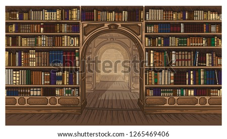 Library book shelf interior graphic sketch colorfull illustration vector illustration