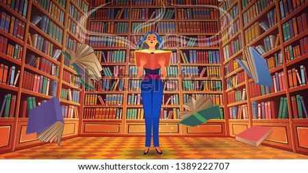 library book shelves with a