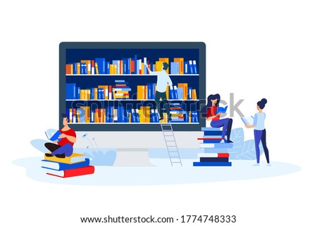 Library, book store and e-book. Vector illustrations of a man and a woman read books in front of the bookshelf. Concepts for graphic and web design, education, book store and library, e-book.